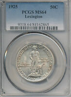 1925 LEXINGTON SILVER COMMEMORATIVE HALF DOLLAR PCGS MINT STATE 64 SHIPS FREE