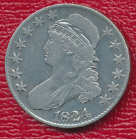 1824 CAPPED BUST SILVER HALF DOLLAR LIGHTLY CIRCULATED SHIPS FREE