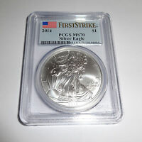 2014 AMERICAN SILVER EAGLE PCGS MS70 FIRST STRIKE 1OZ COIN