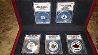 2015 CANADIAN REVERSE PROOF SILVER MAPLE LEAF 5PC SET FIRST STRIKE ANACS RP70