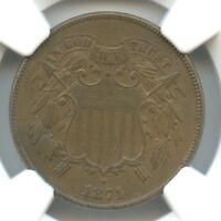 1871 SHIELD TWO CENTS, NGC AU 58 BN, BETTER DATE
