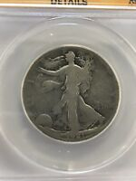 1921 S WALKING LIBERTY HALF DOLLAR ANACS G 4 DETAILS CLEANED
