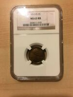 1913-S LINCOLN CENT NGC MINT STATE 63RB - KEY. BEAUTIFUL COIN TO ADD TO YOUR COLLECTION