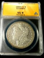 KEY DATE 1889-CC MORGAN SILVER DOLLAR ANACS GRADED VG-8 DETAILS CLEANED