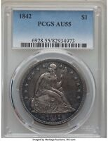 Click now to see the BUY IT NOW Price! 1842 SEATED LIBERTY SILVER DOLLAR $1 PCGS AU 55 ORIGINAL AND NICE