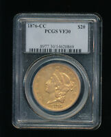 1876 CC $20 GOLD LIBERTY HEAD DOUBLE EAGLE PCGS VF 30 TWENTY DOLLAR GOLD  CC