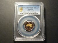 CANADA 2003 1 CENT PCGS PR 68DCAM   RCM MINT REPORT GOLD PLATED LEAVES