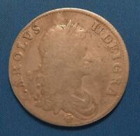 1662 GREAT BRITAIN KING CHARLES II SILVER CROWN  NO RESERVE