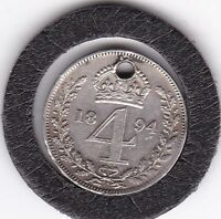 1894   QUEEN VICTORIA  MAUNDY  FOUR  PENCE   M4D  SILVER  92