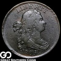 1805 HALF CENT DRAPED BUST TOUGH EARLY COPPER