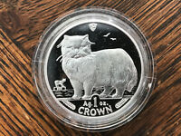 1989 ISLE OF MAN PERSIAN CAT 1 OZ SILVER COIN .999 CROWN PRO