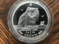 1995 ISLE OF MAN TURKISH CAT 1 OZ SILVER COIN .999 CROWN PRO