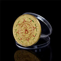 40MM GOLD PLATED MAYAN AZTEC PROPHECY CALENDAR COMMEMORATIVE COIN COLLECTION GK