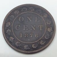 1876 H CANADA COPPER ONE LARGE CENT PENNY CIRCULATED CANADIAN COIN C139