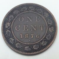 1876 H CANADA COPPER ONE LARGE CENT PENNY CIRCULATED CANADIAN COIN C140