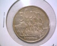 1976 NEW ZEALAND 50 CENTS COIN KM37.1 HMS ENDEAVOR ELIZABETH II