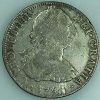 1784 EIGHT REALES  MEXICO  MO FF  CAROLUS LLL  SILVER  COLONIAL SPANISH