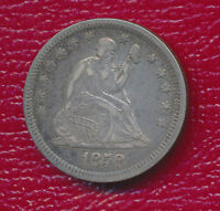 1858 SEATED LIBERTY SILVER QUARTER   LY FINE PLUS COIN