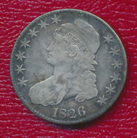 1826 CAPPED BUST SILVER HALF DOLLAR   VERY NICE TONING