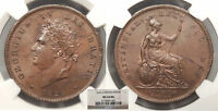 GREAT BRITAIN GEORGE IV 1826 PENNY NGC MS 64 BN