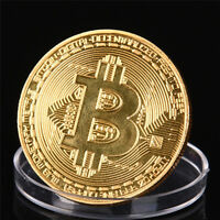 1X  GOLD PLATED BITCOIN COIN COLLECTIBLE GIFT COIN ART COLLECTION PHYSICAL QH