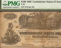 1862 $100 DOLLAR CONFEDERATE STATES HUNDO CURRENCY CIVIL WAR NOTE T 39 PMG VF