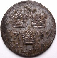SWEDEN 1717 A.D. HAMMERED SILVER COIN FROM BALTIC SEA SHIPWRECK