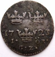 SWEDEN 1723 A.D. HAMMERED SILVER COIN FROM BALTIC SEA SHIPWRECK