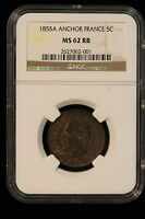 1855 A FRANCE. 5 CENTIMES. ANCHOR. NGC GRADED MS 62 RB