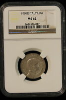1909 R ITALY. LIRA. NGC GRADED MS 62. TOP OF THE CENSUS.