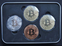 BITCOIN 4 PCS/ SET COINS  COLLECTIBLE  GOLD SILVER COPPER FAST SHIPPING.