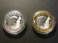 2013 RCM OH CANADA PAIR OF $10 BEAVERS ONE MATTE SILVER AND ONE GOLD PLATED