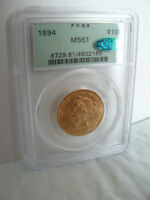1894 $10 GOLD LIBERTY EAGLE PCGS OGH MS 61 CAC SUPER