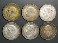 GREAT BRITAIN 1920 1934 1 SHILLING SILVER   6 DATES/COINS