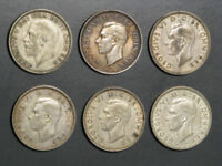 GREAT BRITAIN 1936 1944 1 SHILLING SILVER   6 DATES/COINS