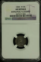 LIBERTY SEATED SILVER HALF DIME.1844 NGC AU DETAILS. RPD.  LOT  2672217-004