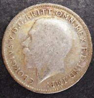 1919 GREAT BRITAIN THREEPENCE   NICE SILVER COIN  VF      57
