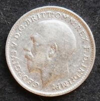 1913 GREAT BRITAIN THREEPENCE   NICE SILVER  COIN  VF   XF