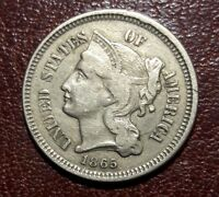 1865   3 THREE CENT NICKEL NICE COIN