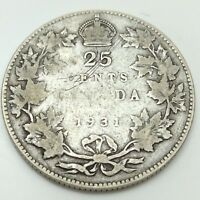 1931 CANADA TEN 10 CENTS CIRCULATED SILVER DIME CANADIAN COIN D502