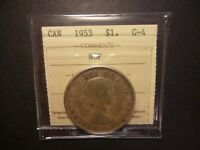 LOWBALL   1953 NSF CANADA SILVER DOLLAR POCKET PIECE LUCKY COIN ICCS G 4