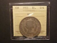 LOWBALL   1953 SF CANADA SILVER DOLLAR POCKET PIECE LUCKY COIN ICCS G 4