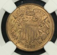 NGC MINT STATE 63 RB 1867 TWO CENT PIECE 2C  BC05