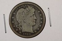 1914 P BARBER QUARTER DOLLAR 25C  FINE