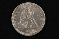 1861 25C LIBERTY SEATED QUARTER CHOICE AU