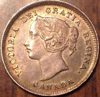 1899 CANADA SILVER 5 CENTS TONED AND NEAR UNCIRCULATED