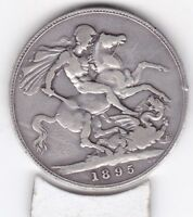 1895   QUEEN VICTORIA LARGE CROWN / FIVE SHILLING COIN  FROM