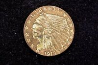 1913 GOLD LIBERTY $2 1/2 DOLLAR QUARTER EAGLE CHOICE AU