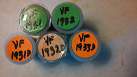 HALF ROLLS OF LINCOLN CENTS. 1931-P, 1931-D, 1932-P, 1932-D & 1933-D. ALL VF.