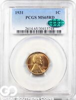 1931 LINCOLN CENT WHEAT CENT, RED, PCGS MINT STATE 65 RD  CAC CERTIFIED, FREE S/H